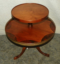 Burl Walnut Inlaid 2 Tier Parlor Table Dumbwaiter Table - $399.00