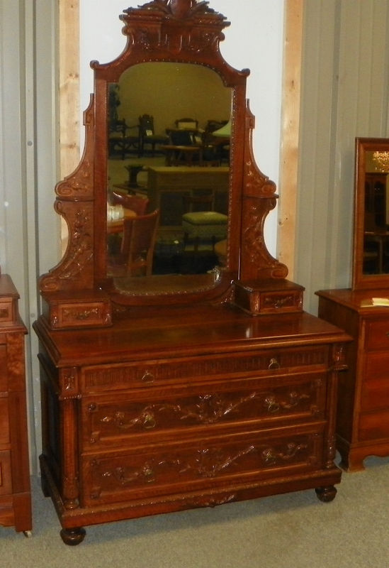 Primary image for Carved Walnut & Maple Dresser Chest with Mirror