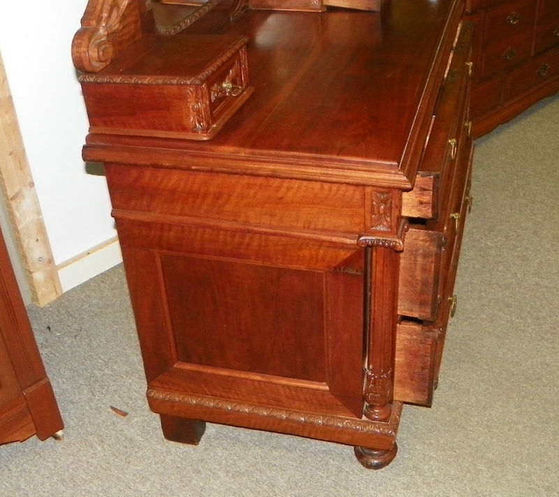 Carved walnut maple dresser chest with mirror post