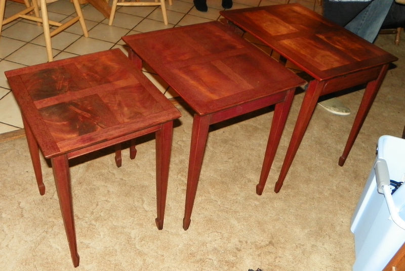 Primary image for Crotch Mahogany Inlaid Nesting End Tables Side Tables