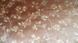 Mauve Flower Print Cut Velvet Upholstery Fabric 1 Yd  R633 - $28.61