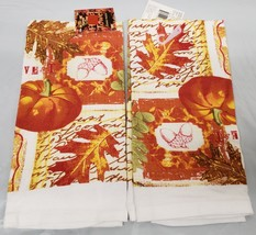 Set Of 2 Printed Kitchen Towels, Fall, Harvest, Pumpkin & Leaves By Forum - $9.89