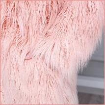 Shaggy Gradual Pink Long Hair Mongolian Sheep Faux Fur Long Length Winter Coat image 3