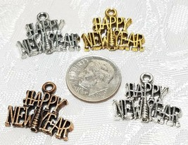 HAPPY NEW YEAR FINE PEWTER PENDANT CHARM - 21x17.5x2mm image 2