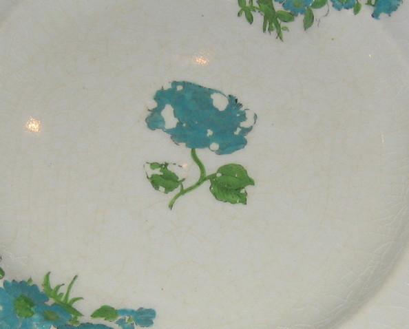 Antique Royal Cauldon-Pattern # v4027- Hand Painted 8 Salad Plates- Blue flowers