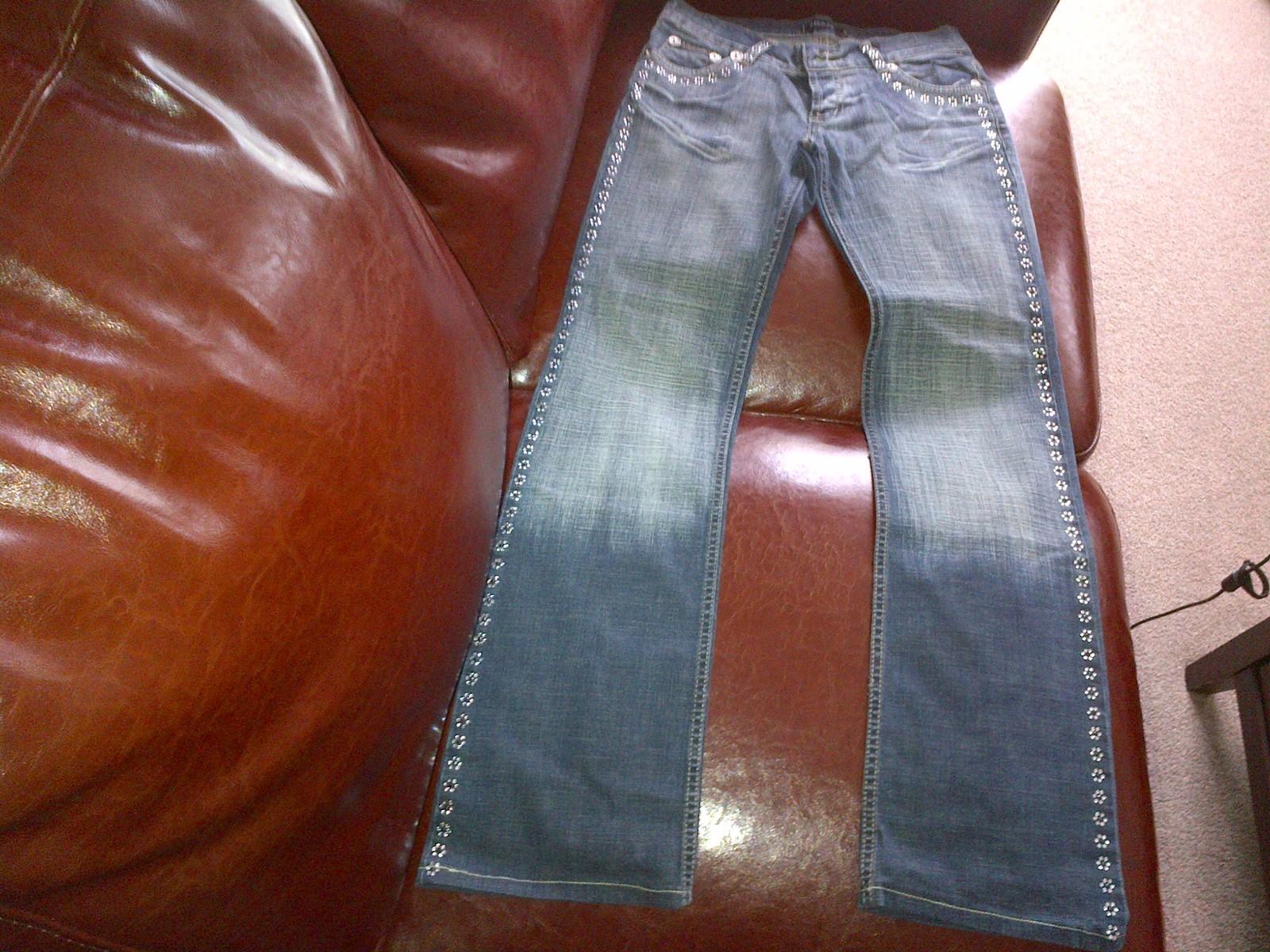 D&G denim elastic jeans trousers crystal flowers lines size 28 - $130.00