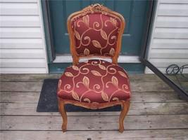 Walnut Italian Carved Sidechair Parlor Chair burgundy print damask  (SC68) - $288.53