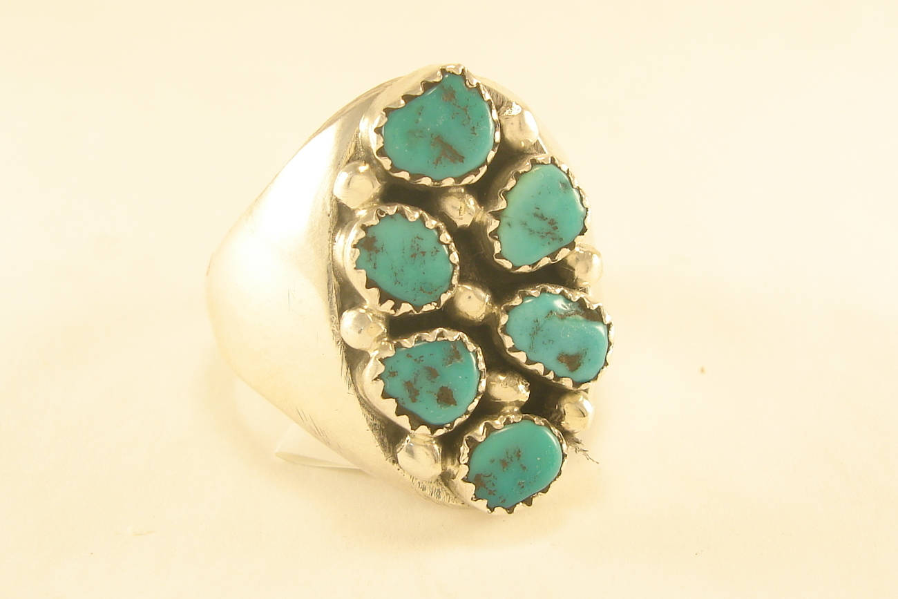 Ring Navajo sterling silver and turquoise nuggets