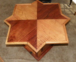 Walnut and Oak Star Shaped End Table  / Side Table - $299.00