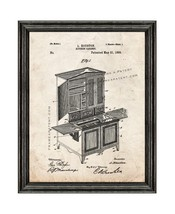 Kitchen Cabinet Patent Print Old Look with Black Wood Frame - $24.95+