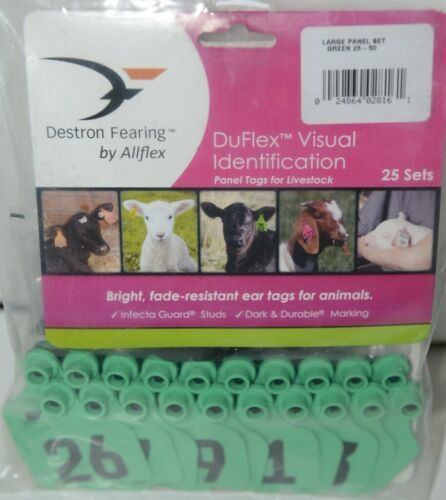 Destron Fearing DuFlex Visual ID Livestock Panel Tags LG Green 25 Sets 26 to 50