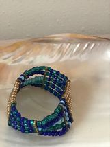Estate Shades of Blue & Gilt Bead Wide Stretch Bracelet  - will fit small to med image 3