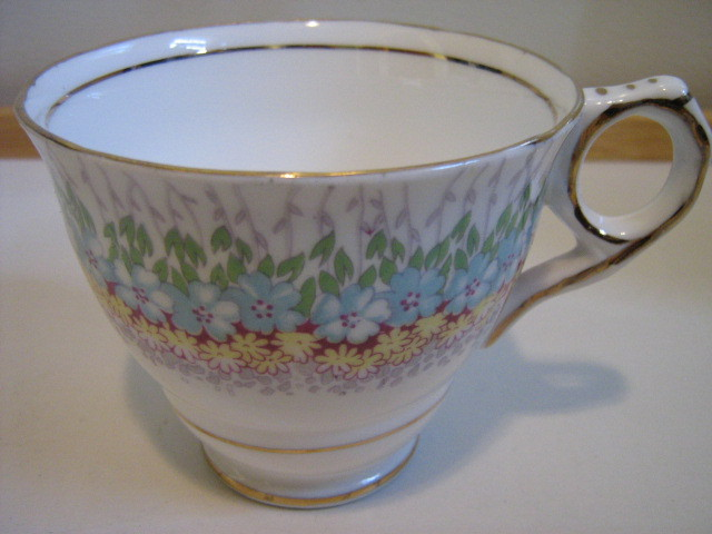 "Vintage Royal Stafford English Bone China Cup & Saucer - ""Glendale"" Pattern"