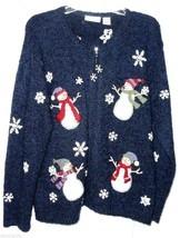 Cardigan Christmas Sweater L Blue SNOWMAN Snowflake Snow CROFT & BARROW ... - $22.00