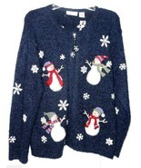 Cardigan Christmas Sweater L Blue SNOWMAN Snowflake Snow CROFT & BARROW ... - $22.00