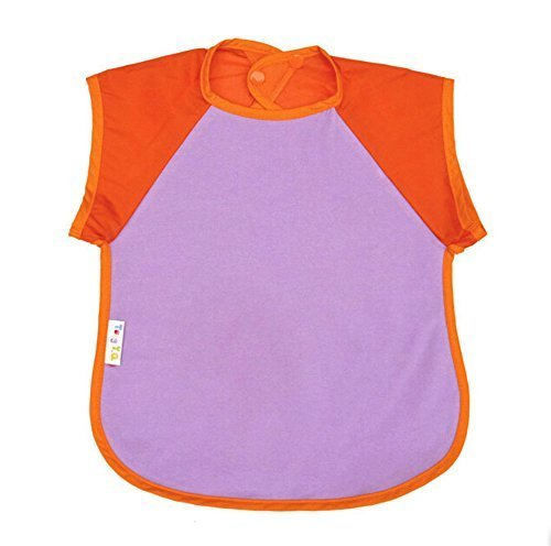 Summer Cotton Waterproof Short Sleeved Bib Baby Painting Smock ORANGE, 6-8 Years