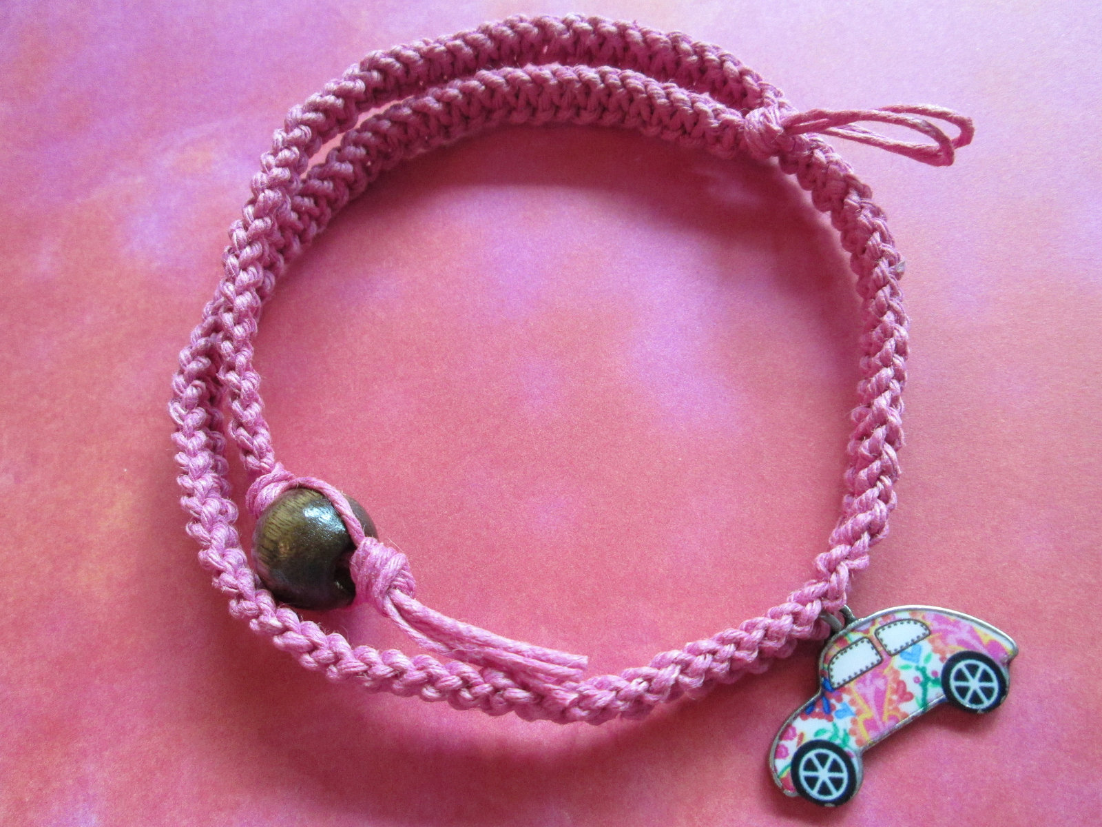 Handmade Pink Hemp Necklace with Awesome Flowery Colorful Car Charm Pendant