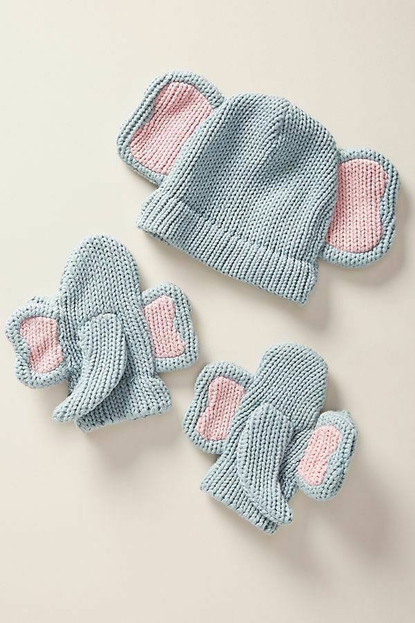 2T-4T Kids Knit Earflap Bunny Hat and Mittens Set Capelli Pink