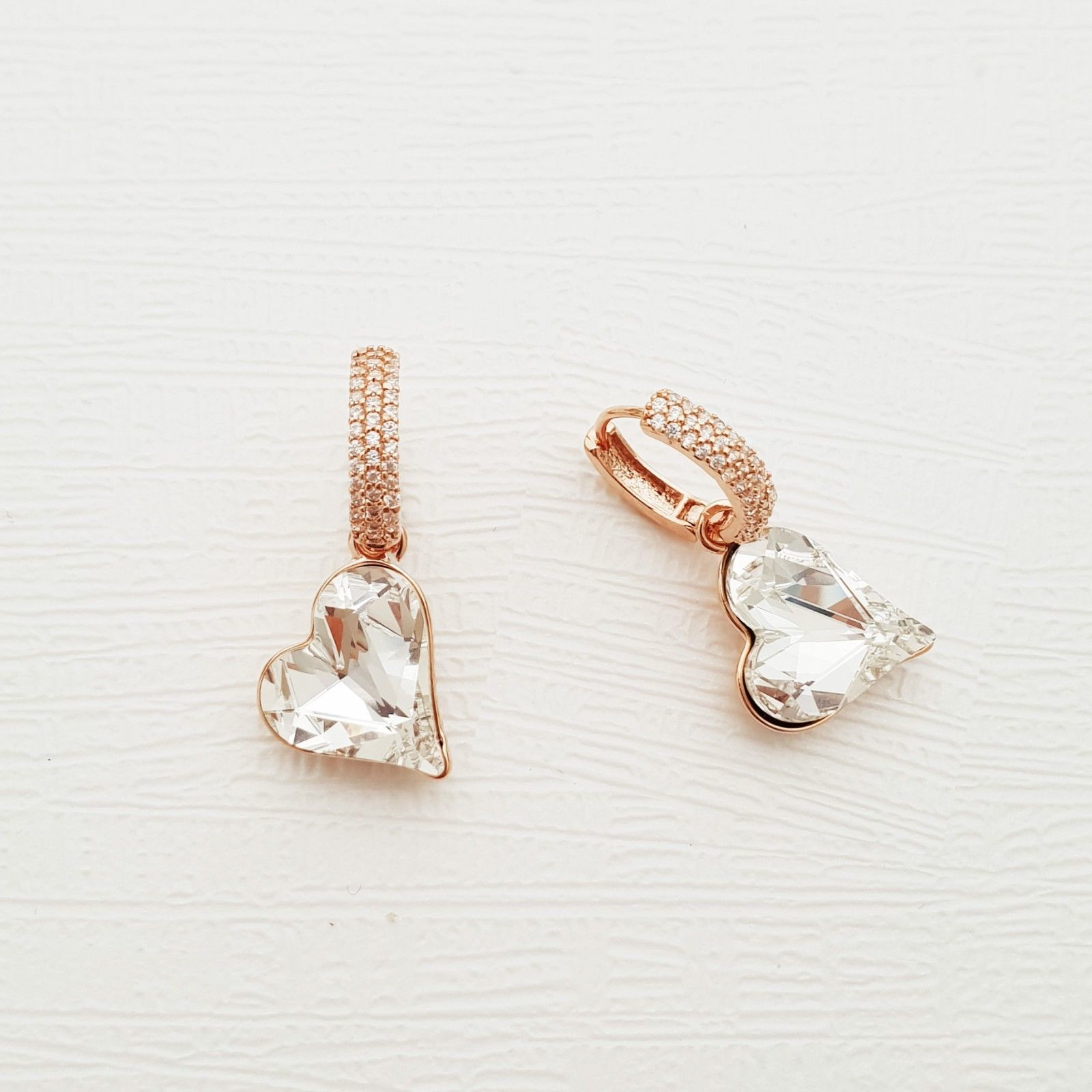 Heart Made With Swarovski Crystal Laverback Dangle Earrings Cubic Zirconia E215 image 4