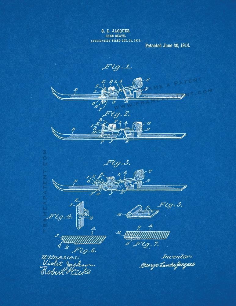 Primary image for Skee-skate Patent Print - Blueprint