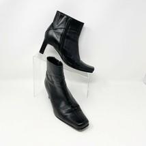 Ashley Womens Black Side Zip Block Heel Bootie, Size 6.5 -7 Boot - $34.60