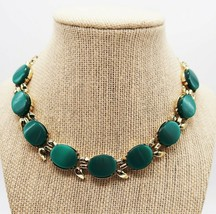 Vtg gold tone green thermoset link princess choker necklace 15 inches - $25.00