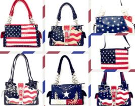 Texas West Western Concealed Carry Rhinestone American Flag Women Handba... - $33.15