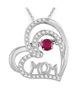 """Red Ruby & White Sapphire .925 Sterling Silver Mom Pendant With 16"""" Chain - $64.34"""