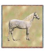 54x54 White Welsh Pony HORSE Lap Square Throw Blanket - $42.95