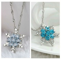 Frozen Necklace, Blue Crystal Snowflake, Flower - $1.99