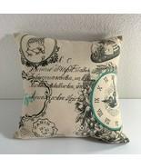 "Hobby Lobby Linen Bird Throw Pillow Postal Writing Clock Black Aqua 18"" ... - $28.71"