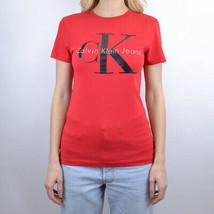 T-SHIRT WOMAN CALVIN KLEIN SHRUNKEN TEE J20J205643  Rosso - $44.49