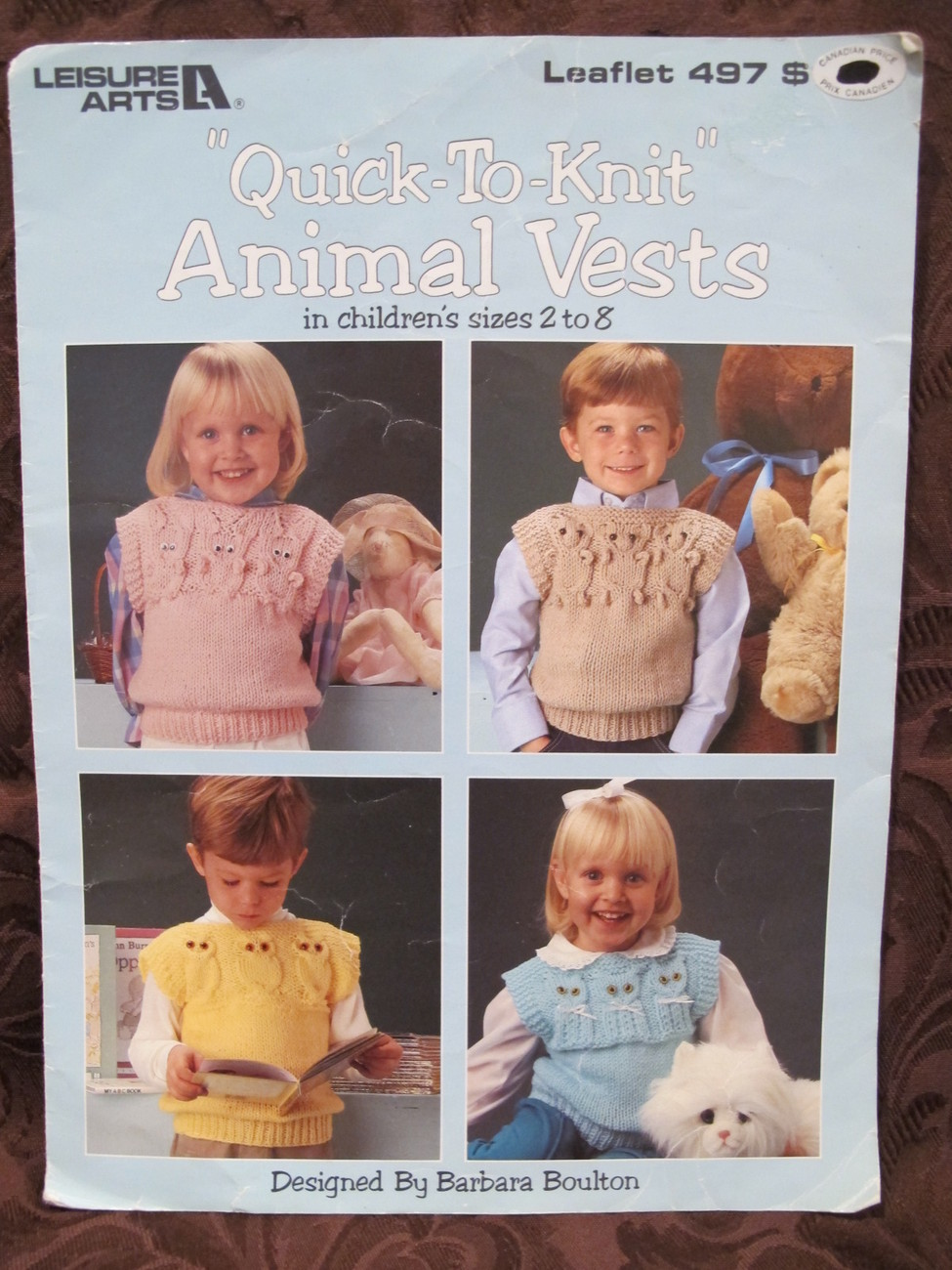 Vintage Knitting Patterns Animal Vests CHILDREN Sizes 2 - 8 Quick to Knit