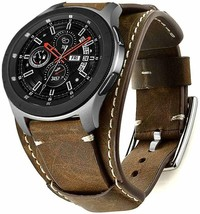 Samsung Galaxy Watch Band 46mm Vintage Replacement Genuine Leather Cuff ... - $29.54