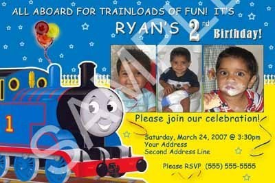 Primary image for Boys Thomas The Train Photo Birthday Party Invitations