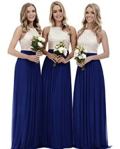 Off The Shoulder Long Prom Dress Royal Blue Chiffon Bridesmaid Dresses C... - $95.33