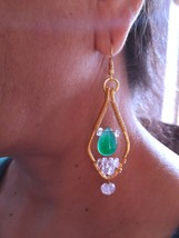 Natural Green Onyx and Round Morganite Beads Earrings 22K Gold Micron Pl... - $70.00