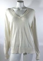 Ann Taylor Womens Sweater Sz XL Cream Ivory Beaded Wool Blend V Neck Mixed Media - $20.19