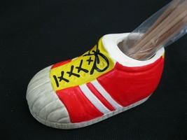 Vtg 1977 Enesco Sneaker Shoe Toothpick Holder  Red Yellow Ceramic Made in Japan - $9.65