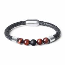 2019New Fashion Charm Male Leather Bracelet Lava Chakra Stone Beads Black Stainl - $15.10