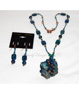Azilian Azure-Blue and Green Azurmalachite Gemstone Necklace and Earring... - $320.00