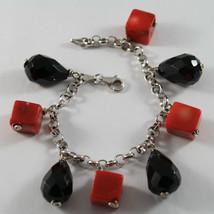 .925 RHODIUM SILVER BRACELET WITH CUBES OF CORAL BAMBOO AND DROPS OF BLACK ONYX image 1