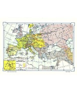 1966 Map Europe at the time of Napolean 1812 Wall Decor Suitable for Fra... - $14.99