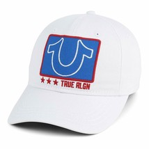 True Religion Men's Embroidered Adjustable Strapback Dad Hat Cap White