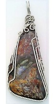 Yellow Red Moss Agate Stainless Steel Wire Wrap Pendant 21 - $27.99