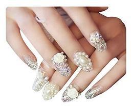2 Boxes(48 Pieces)Wedding Beautiful Beads Style DIY 3D Design False Nails, White