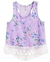 Beautees Girls' Floral-Print Tank with Crochet Trim,Lilac,  Size L, MSRP... - $14.95