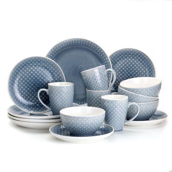 Palma 16 Piece Dinnerware Set in Gray by Euro Ceramica