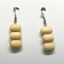 "Vintage Rounded Rectangle Dangle Earrings Beige 1.25"" Long Fashion Pierced  - $11.95"