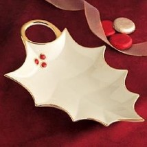 Lenox Ivory Fine China Holly Leaf Candy Dish W/ Gold Accent - $35.00
